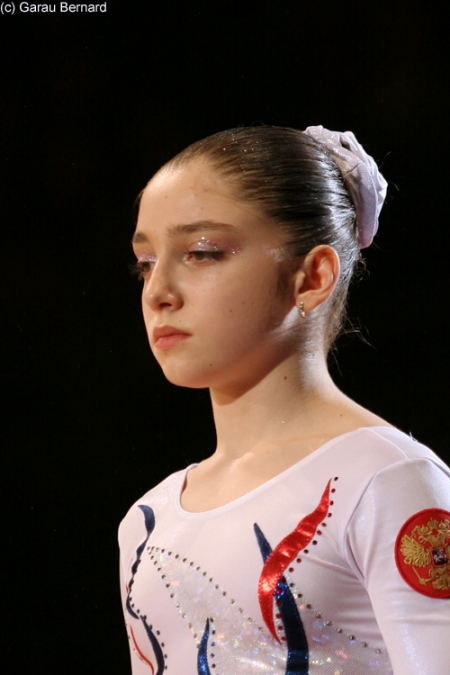Aliya Mustafina at a competition in 2008.